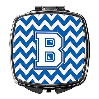 Carolines Treasures  CJ1045-BSCM Letter B Chevron Blue and White Compact Mirror