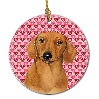 Carolines Treasures  LH9132CO1 Dachshund Valentine's Love and Hearts Ceramic Orn