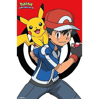 Pokemon - Ash and Pikachu Poster Poster Print by