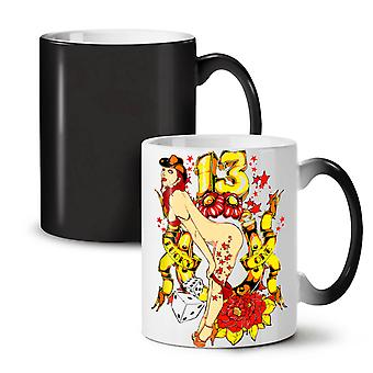 Lucky Number 13 Lady NEW Black Colour Changing Tea Coffee Ceramic Mug 11 oz | Wellcoda