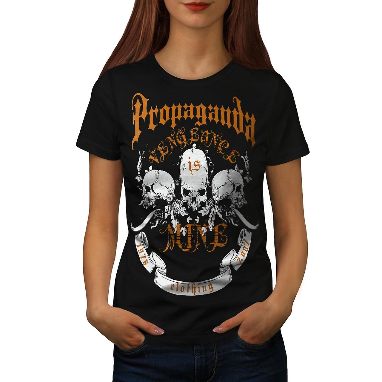 Propaganda Death Skull Women Black T-shirt | Wellcoda