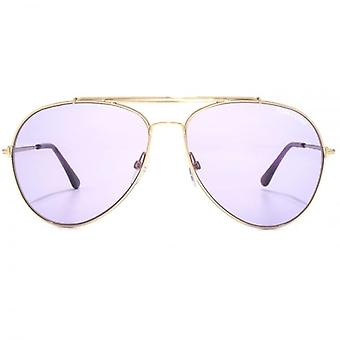 Tom Ford Indiana Pilot zonnebrillen In glanzende Rose goud Violet