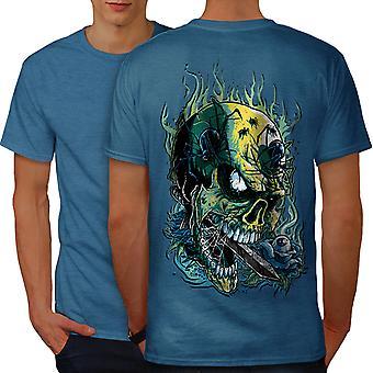 Goth Skull Hot Horror Men Royal BlueT-shirt Back | Wellcoda