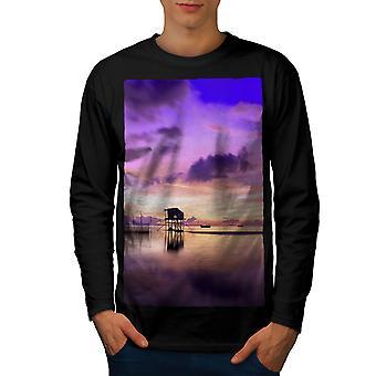 Beautiful Sky Sea Men BlackLong Sleeve T-shirt   Wellcoda