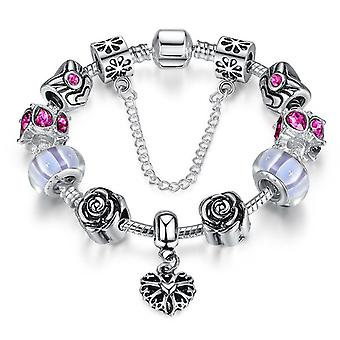 Silver Plated Snake Bracelet With Charms Pa1452