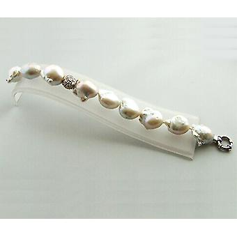 Pearl bracelet with cubic zirconia and Baroque pearls