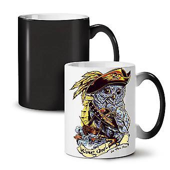 Owl Pirate NEW Black Colour Changing Tea Coffee Ceramic Mug 11 oz   Wellcoda