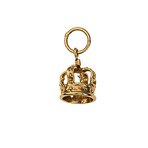 9ct Gold 9x8mm Royal Crown Pendant or Charm