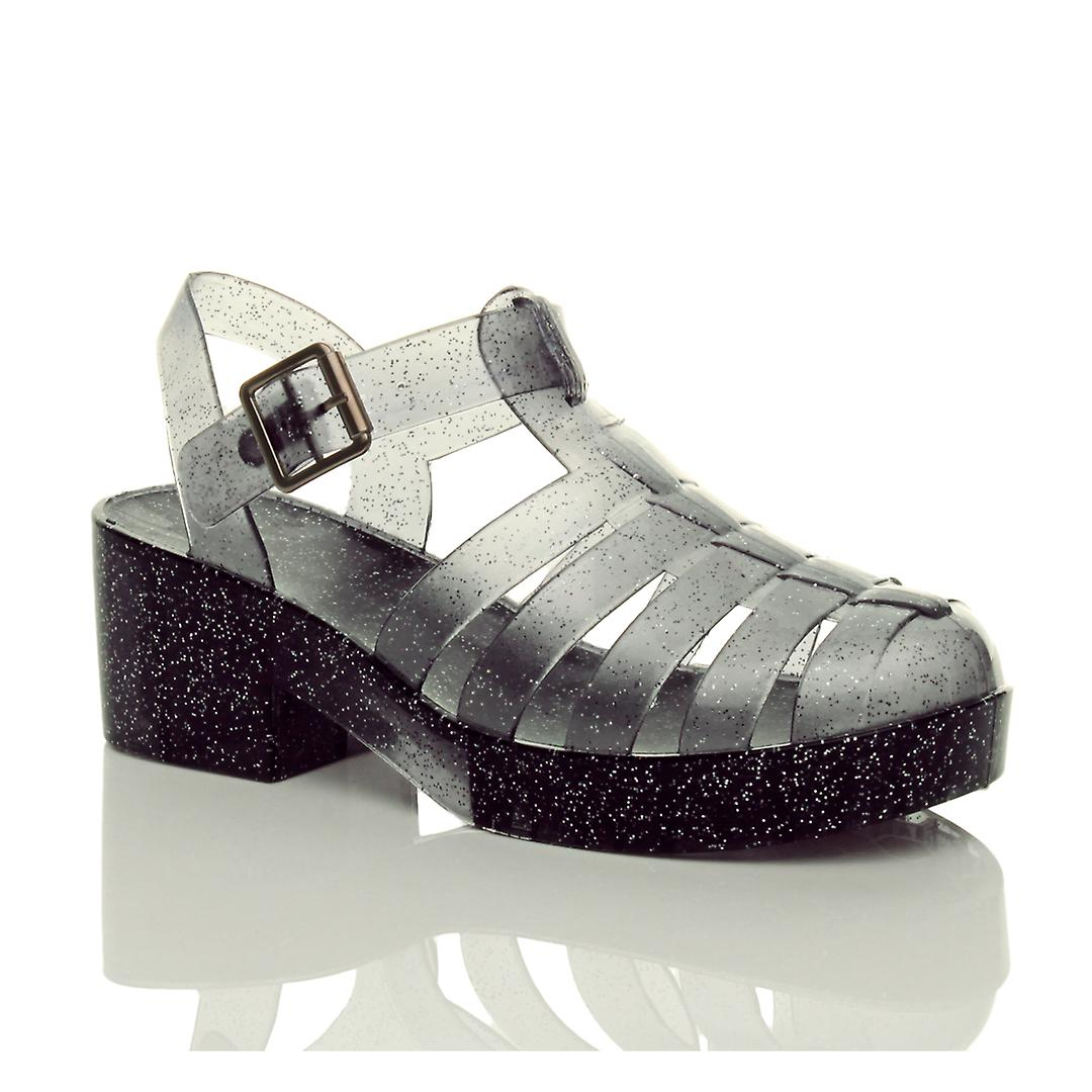 Ajvani heel womens low mid block heel Ajvani rubber jelly gladiator cut out retro sandals shoes:elegance:Gentlemen/Ladies 66a949