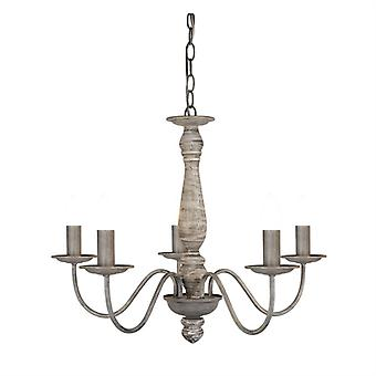 Florence Washed Grey Five Light Ceiling Light - Searchlight 9235-5gy