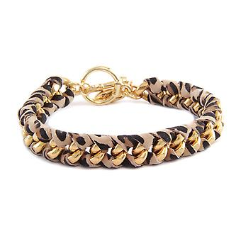 Ettika - Bracelet yellow gold Leopard and cotton braided ribbons printed