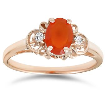 3/4ct Fire Sapphire & Diamond Ring 14K Yellow Gold