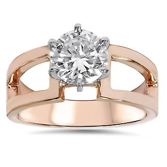 1ct Round Solitaire Engagement Ring 14K Rose Gold