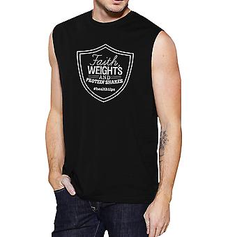 Faith Weights Mens Black Fitness Tank Top Muscle Shirt For Workout