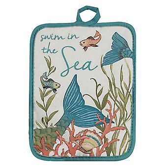 Mermaid Tails Swim in the Sea Coastal Kitchen Pot Holder