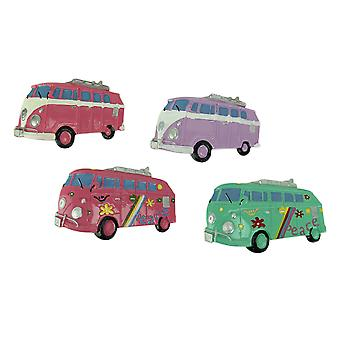 Set of 4 Whimsical Colorful Surfer Bus Magnets