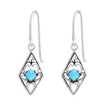 Diamond Shaped - 925 Sterling Silver Opal and Semi Precious Earrings