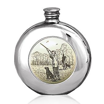 Shooting Scrimshaw Style Round Pewter Flask - 6oz