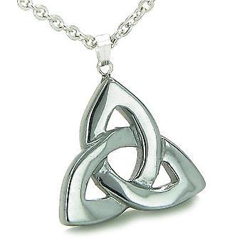 Keltisk Triquetra knute magisk amulett hematitt onde øyet beskyttelse krefter Gemstone anheng halskjede