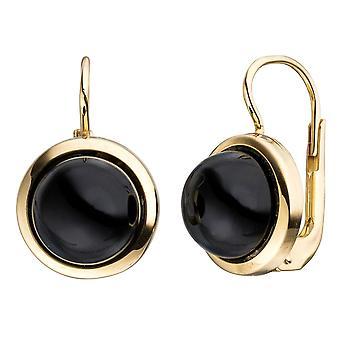 Onyx redondo oro de boutons 333 oro 2 Onyxe negro pendientes pendientes