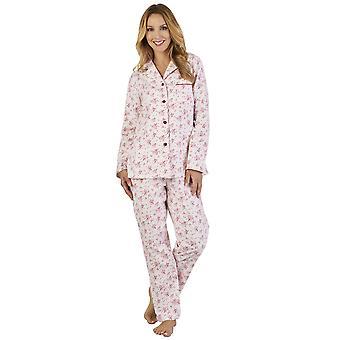Slenderella PJ2213 kobiet luksusowy flaneli kwiatowy piżamy Piżama