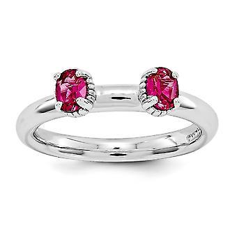 2.5mm zilver gepolijst Prong set Rhodium-plated stapelbare expressies gemaakt Ruby twee stenen Ring - Ringmaat: 5