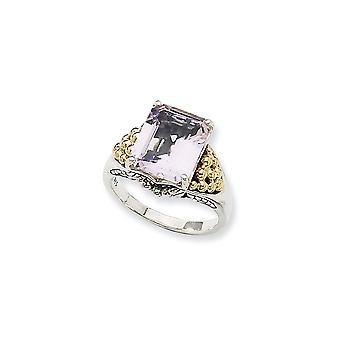 Final de plata antiguo con 14k 4.00Pink anillo de amatista - tamaño del anillo: 6 a 8