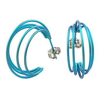 Ti2 Titanium grote draad hoepel oorbellen - Kingfisher blauw