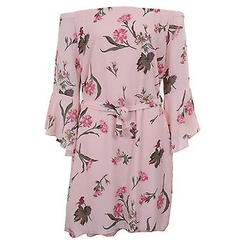 Dames Bell mouw crêpe bekleed Chiffon Floral Bardot Flare Swing Tie taille jurk