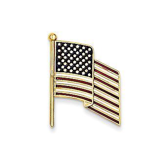 14k Yellow Gold Not engraveable Enameled Flag Pin Charm - 3.0 Grams
