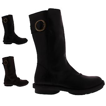 Womens Fly London Folk Slouch Leather Winter Snow Work Mid Calf Boots