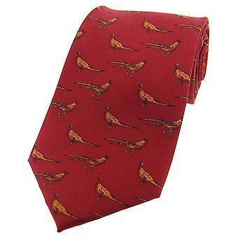 David Van Hagen Standing Pheasants Country Silk Tie - Deep Red