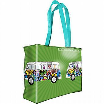 Official VW Camper Van Ladies PVC Large Shopping Bag - Green