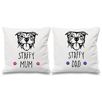 Staffy Mum Dad White Cushion Covers 16