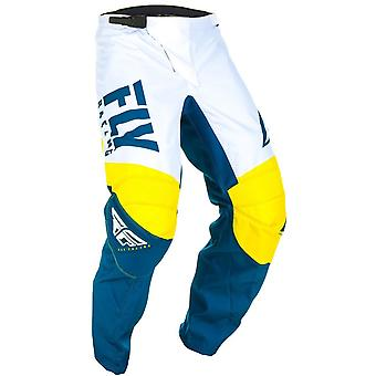 Fly Racing Yellow-White-Navy 2019 F-16 Kids MX Pant