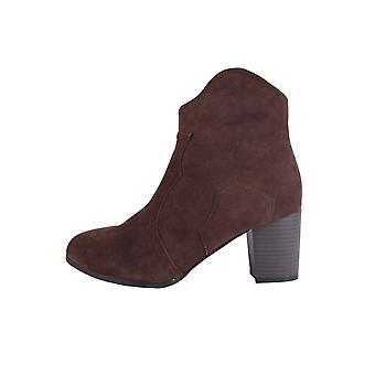 Lovemystyle Brown Faux Sueded Ankle Boots With Heel