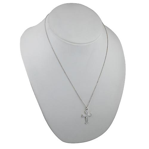 Silver 30x22mm Fancy embossed pattern Cross with a curb Chain 22 inches