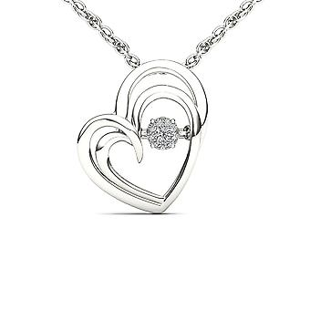 IGI Certified Solid 10k White Gold 0.04 Ct Diamond Heart Beat Pendant Necklace