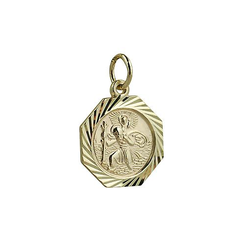 9ct Gold 15x15mm octagonal diamond cut edge St Christopher Pendant