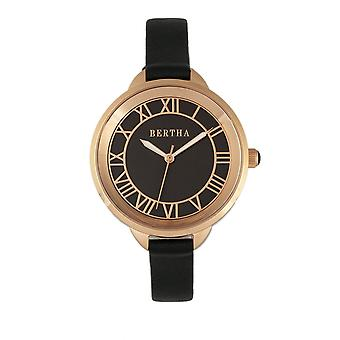 Bertha Madison Sunray Dial Leather-Band Watch - Black/Rose Gold