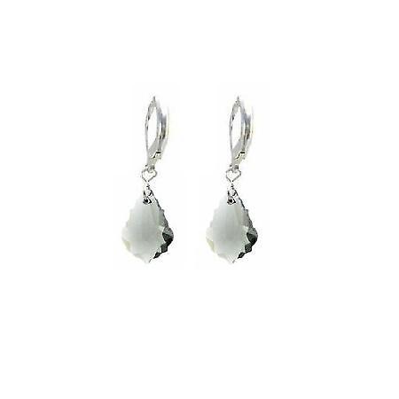 Multi Faceted Baroque Black Diamond Crystal 92.5 Silver Hoop Earrings