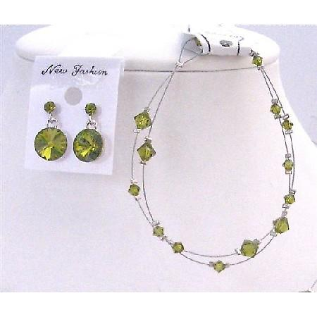Prom Olivine Crystals Bicone Double stranded Wire Bracelet Earring Set