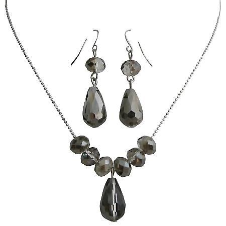Classic Trendy Jewelry Black Diamond Crystals Teardrop Set