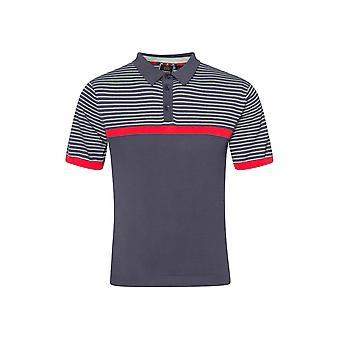 Merc BLAKE, shoulder stripe knit polo with ribbed hem