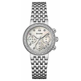 Bulova dames RVS Diamond Set Chrono 96W204 horloge