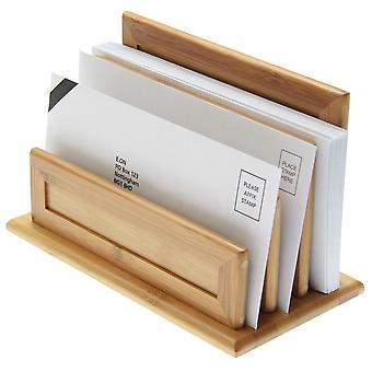 Woodquail Bamboo 3-Slot Letter Holder, Paper Sorter Rack