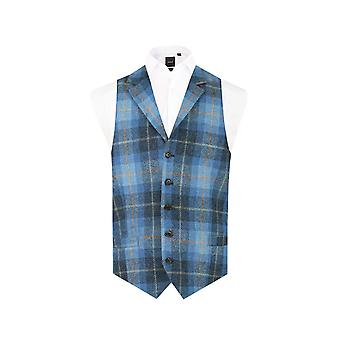 Harris Tweed Mens Blue Check Tweed Waistcoat Regular Fit 100% Wool 5 Button Notch Lapel