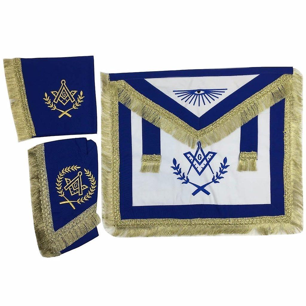 Master Mason voituredura Apron, Collar gauntlets Set with Fbaguee bleu
