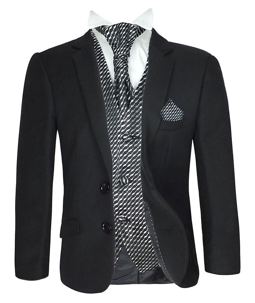 5 PC garçons Cravat formelle noir & choix de gilet costume