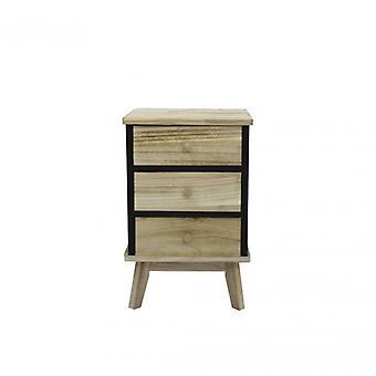 Furniture Rebecca Comodino 3 Black Wood drawers Design 57x37x32